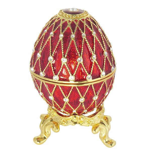 "Egg Trinket Box with Clock (5 rows of rhinestones) RED, 2.75"" / 7 cm (HAD300CL-4)"