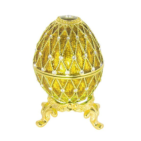 "Russian Style Egg with Clock and Swarovski Crystals (5 rows, golden), 2.5"" / 7 cm (HAD300CL-10)"