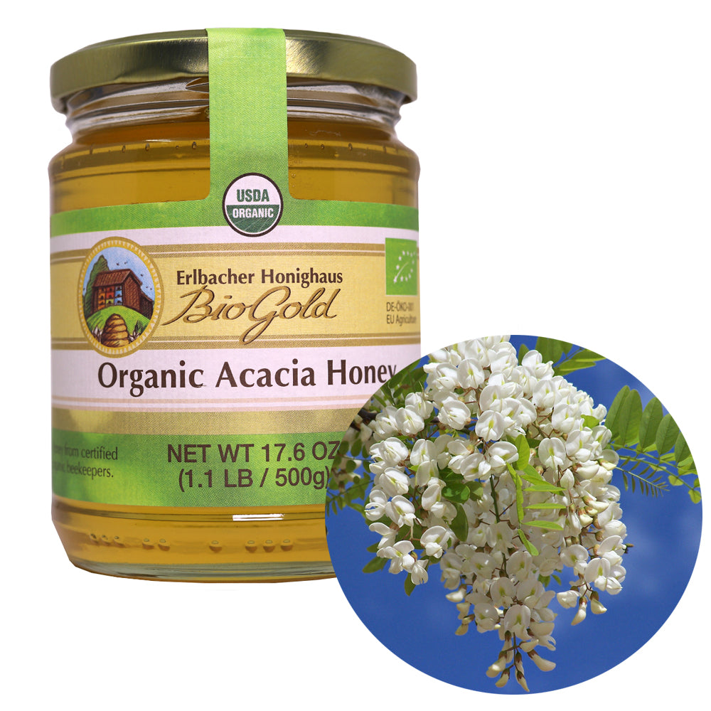Natural Honey, Organic Acacia Blossom Honey, Erlbacher Honighaus, 500 g / 1.1 lb
