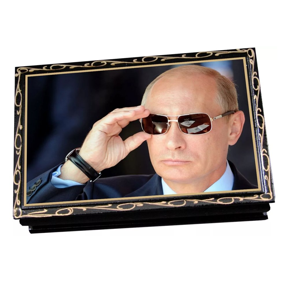 "Assorted chocolate and caramel candies in a gift box ""Russian President Vladimir Putin in sunglasses"", 0.5 lb"
