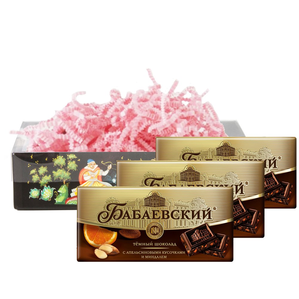 Set of Russian chocolate with orange and almond slices, 100g / 0.22 lb * 3 PCs, Babaevsky