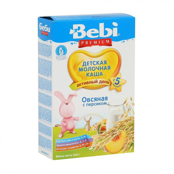 Bebi Premium Milk Porridge with Oatmeal and Peach, 8.82 oz / 250 g