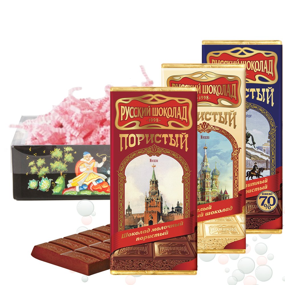 Assorted aerated chocolate set, Russian chocolate, 0.22 lb*3 PCs