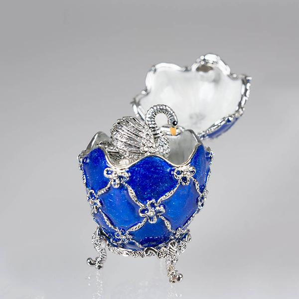 "Easter Gift Russian Style Easter Egg Jewelry Box with a Swan Figurine BLUE, H 2"" (JD1173-3+SF2064)"