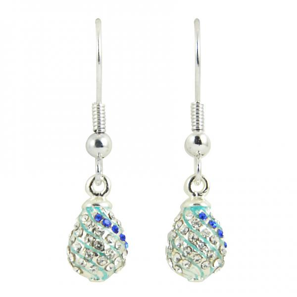 "Russian Style Earrings ""Twisted Pattern with Crystals"" (blue), 1219-11-07"