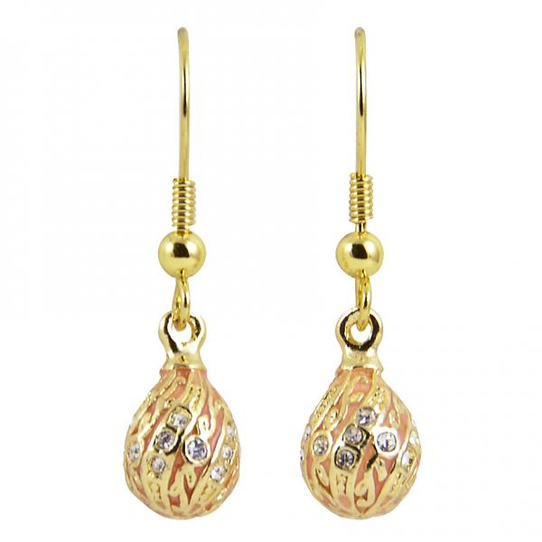"Russian Style Earrings ""Twisted with a Twig"" (pink), 1219-65-08"