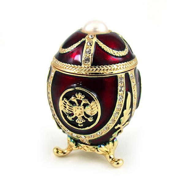 "Small Russian Style Egg ""Eagle with a Pearl"" (red), 2"" / 4.5 cm (HJD1037A)"