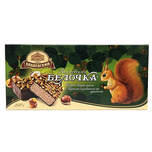 Babayeskaya Belochka Wafer Cake with Caramelized Nuts, 8.08 oz / 250 g