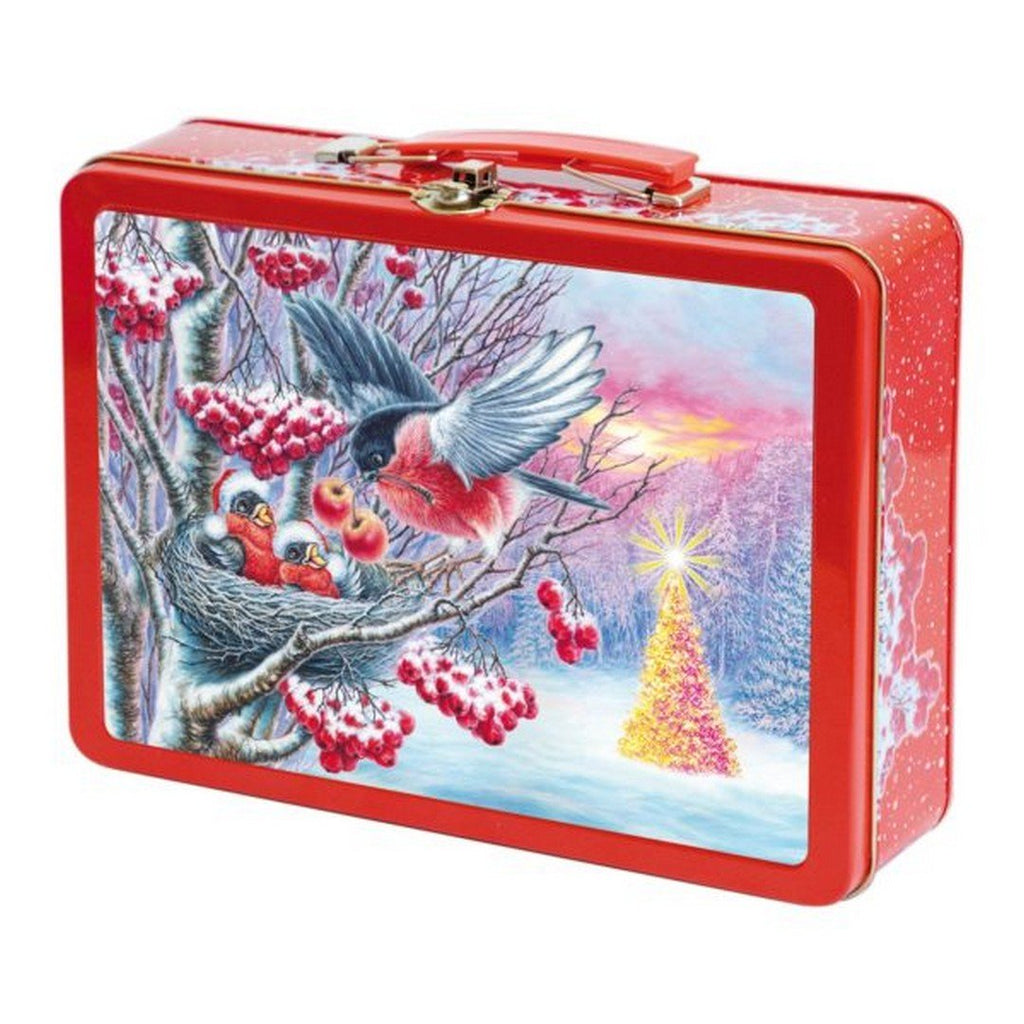 "Assorted chocolate and caramel candies in a New Year tin box ""Bullfinches 3D"", 1.55 lb"