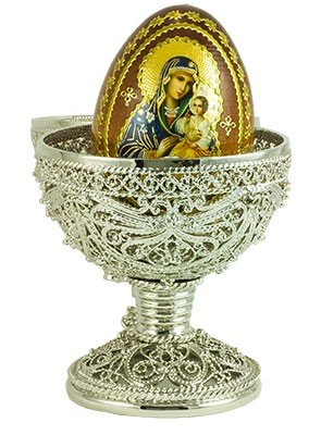 Easter Gift Russian Style Egg  Delicate Large  with Wooden Egg Silver with Swarovski Crystals