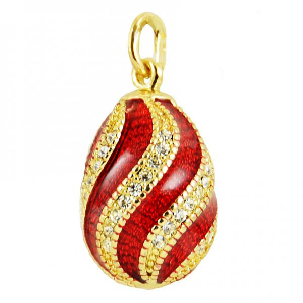 "Russian Style Pendant ""Twist with Jewels"" (red), 1217-10-01"