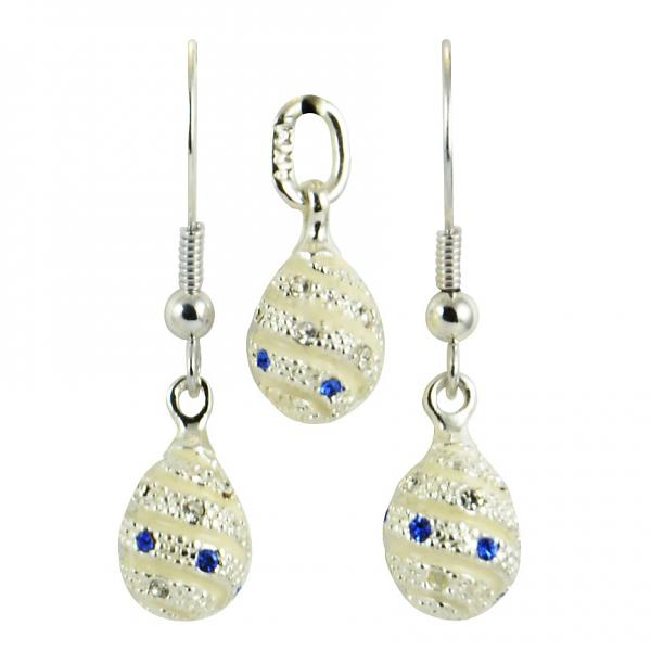 "Russian Style Pendant and Earrings Jewelry Set ""Serpentine"" (white), 1220-128-04"