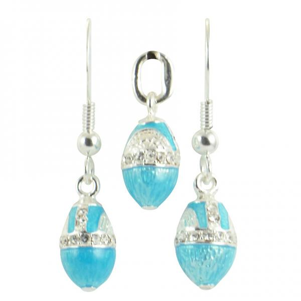 "Russian Style Pendant and Earrings Jewelry Set ""Droplet with Rhinestones"" (blue), 1220-14-07"