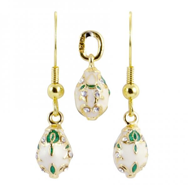 "Russian Style Pendant and Earrings Jewelry Set ""Bouquet"" (white), 1220-37-04"