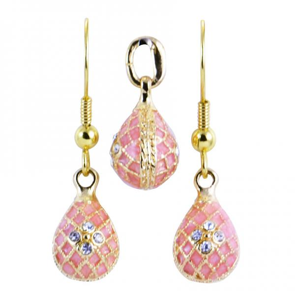 "Russian Style Pendant and Earrings Jewelry Set ""Flowers in Netting"" (pink), 1220-50-08"