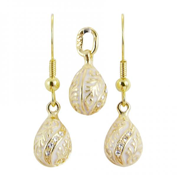 "Russian Style Pendant and Earrings Jewelry Set ""Twist with a Twig"" (white), 1220-54-04"