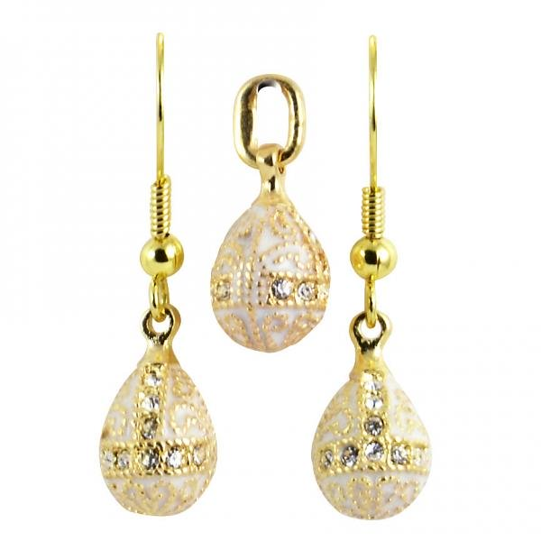"Russian Style Pendant and Earrings Jewelry Set ""Finift"" (white), 1220-57-04"