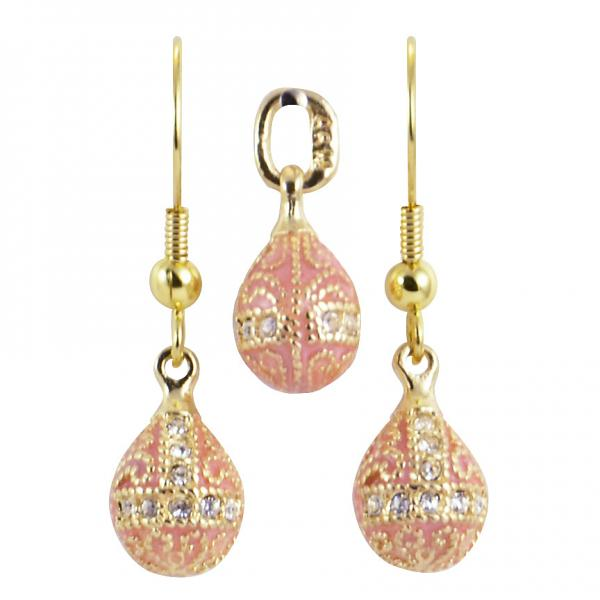 "Russian Style Pendant and Earrings Jewelry Set ""Finift"" (pink), 1220-57-08"