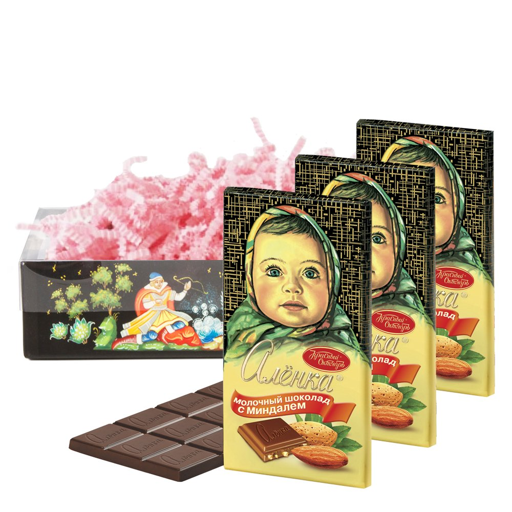 Set of Russian Alenka chocolate with almonds, 100g / 0.22 lb * 3 PCs, Red October