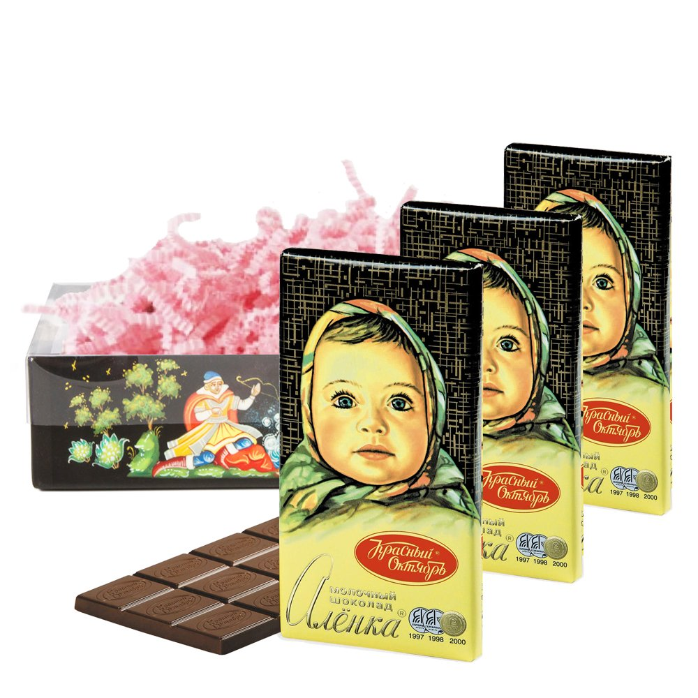 Set of Russian Alenka milk chocolate, 100g / 0.22 lb * 3 PCs, Red October