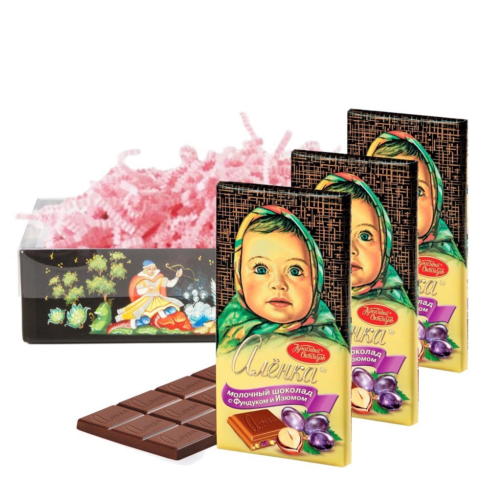 Set of Russian Alenka chocolate with hazelnuts and raisins, 100g / 0.22 lb * 3 PCs, Red October