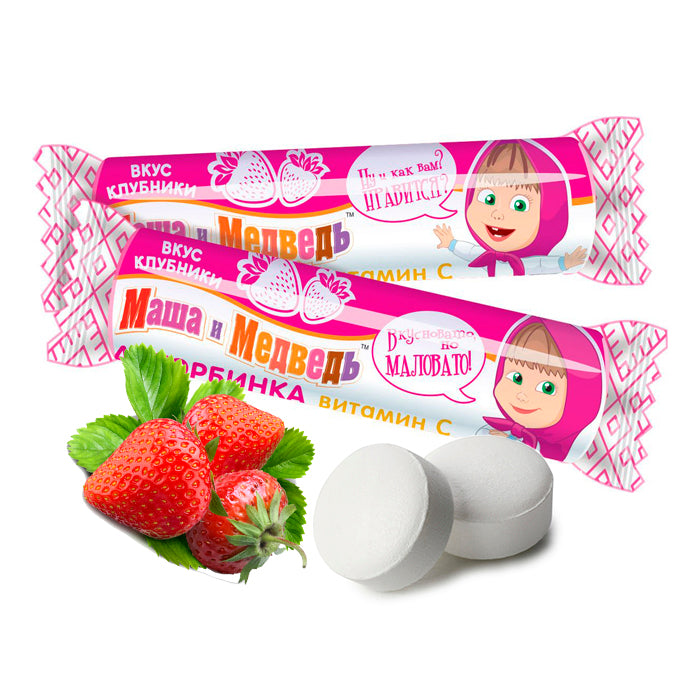 Ascorbic acid Masha and the Bear with Strawberry Flavor, 0.06 lb/ 30 g