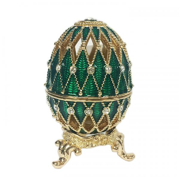 "Mini Egg Lacy Box with Golden Mesh Pattern (green), 1.2"" / 3 cm (HE0105-3)"