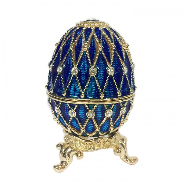"Russian Style Egg Golden Mesh Pattern with Rhinestones (2 rows) BLUE, 1.5"" (HE300-2)"