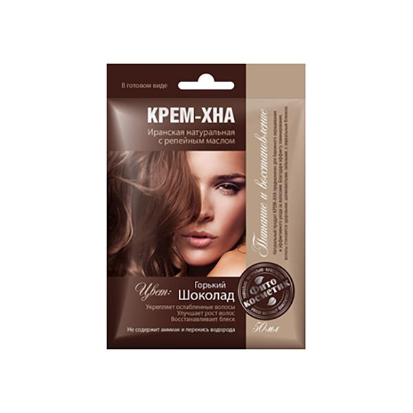 Ready-to-Use Henna Cream with Burdock Oil. Bitter Chocolate Shade, 1.77 oz / 50 ml