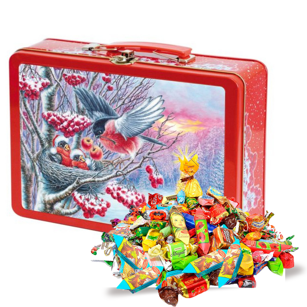 Sweet New Year Gift (assorted candy, metal box), Bullfinches 3D, 1.55 lb
