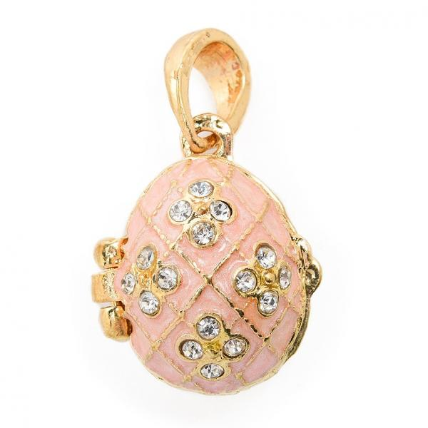 "Locket Pendant ""Flowers in Netting"" (pink), 1"" (1214-0707)"