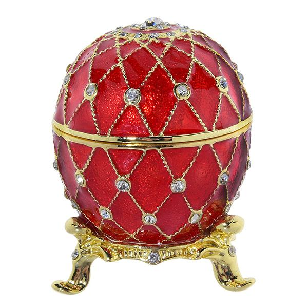 "Eater Gift Russian Style Easter Egg Trinket Box with Crystals RED, H 2"" (AD03)"