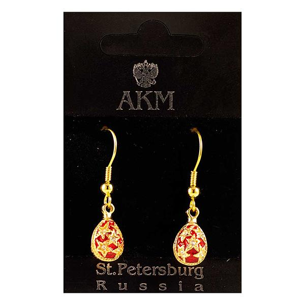 "Russian Style Earrings Set ""Stars"" (red), 1219-48-01"