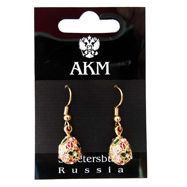 "Russian Style Earrings Set ""Pink Daisy"" (pink), 1219-61-08"