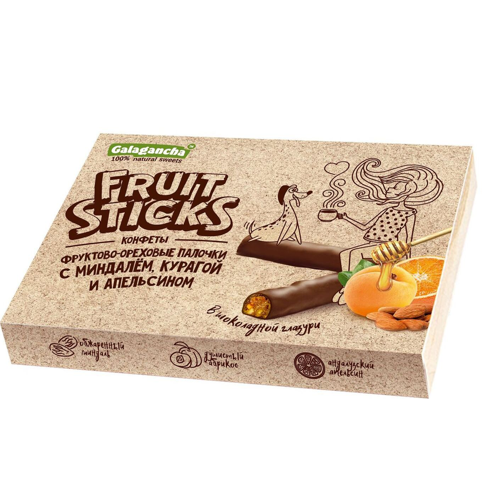 Fruit ( Almonds, Dried Apricots, Candied Orange) Chocolate Covered Sticks, 0.39 lb
