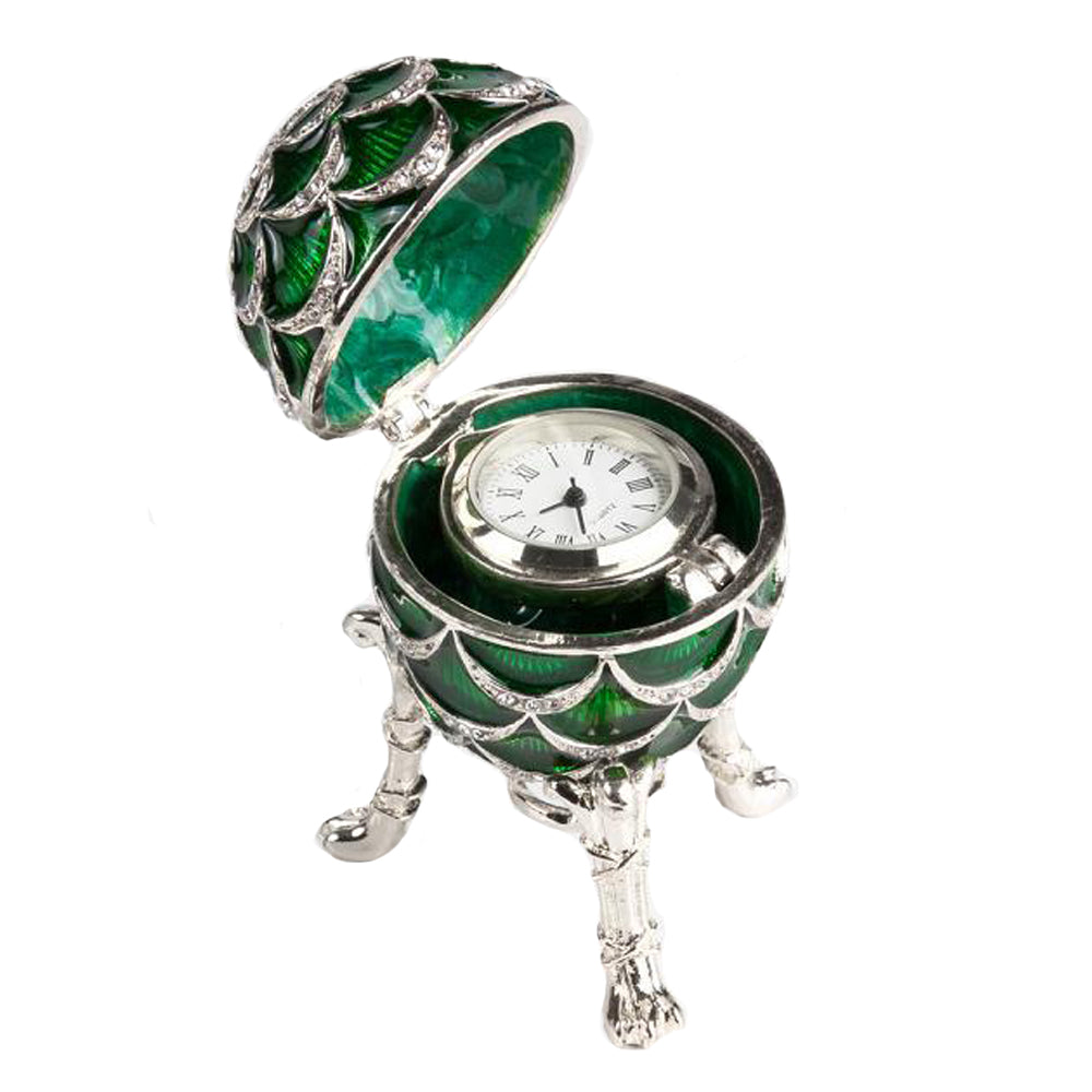"Easter Gift Russian Style Egg ""Pine Cone"" with the Clock (green), 3.62"" / 9.2 cm (HJD1160CL-4)"