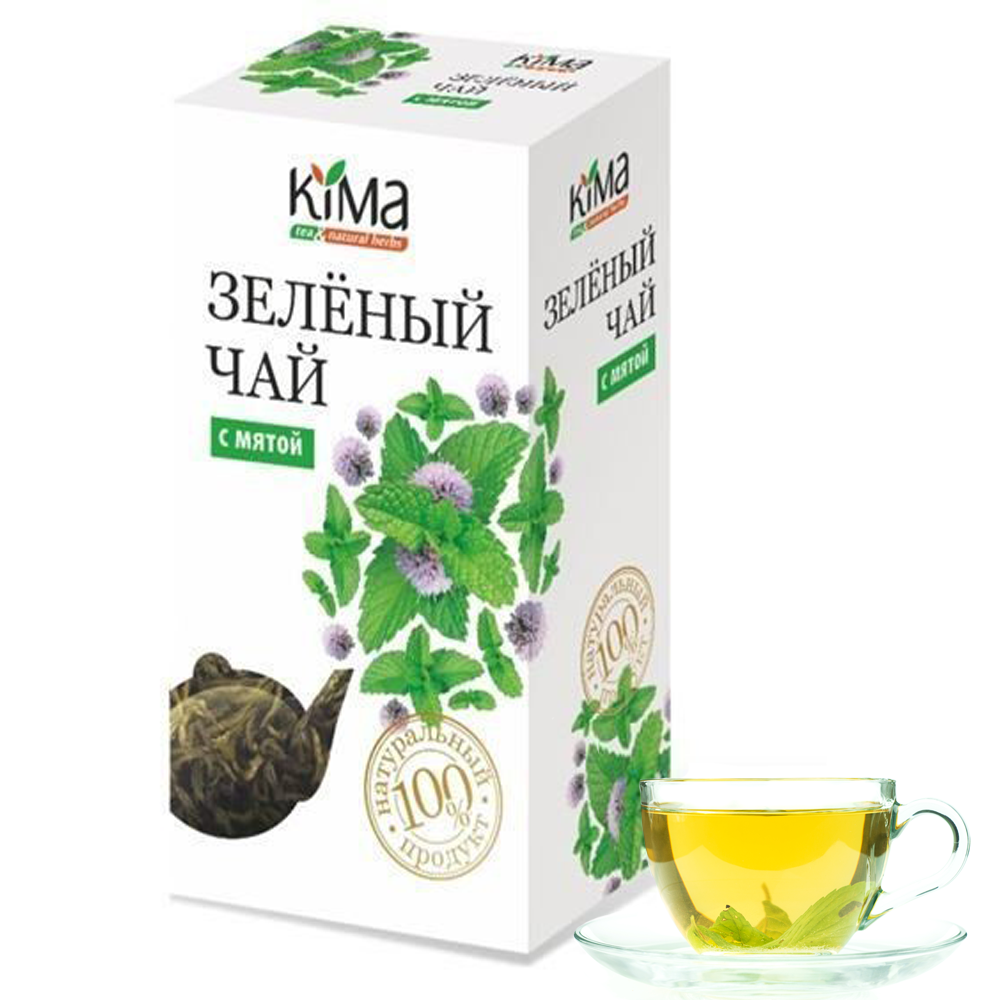 KIMA Green Leaf Tea with Mint Leaf, 75 g