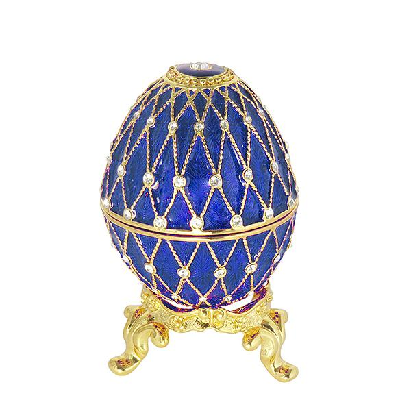"Easter Gift Ideas Egg Trinket Box with Clock (5 rows of rhinestones) BLUE, 2.75"" / 7 cm (HAD300CL-3)"