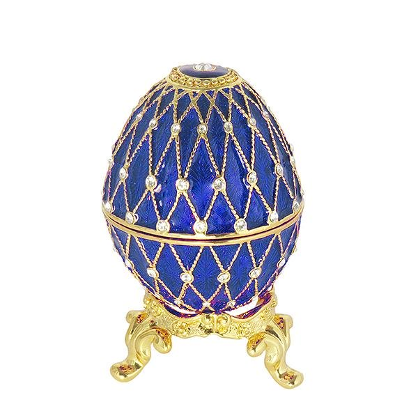 "Easter Gift Russian Style Easter Egg Trinket Box (5 rows of rhinestones) BLUE, 2.5"" / 6.5 cm (AD300-3)"