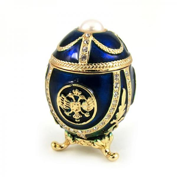 "Small Russian Style Egg ""Eagle with a Pearl"" (blue), 2"" / 4.5 cm (HJD1037A-3)"