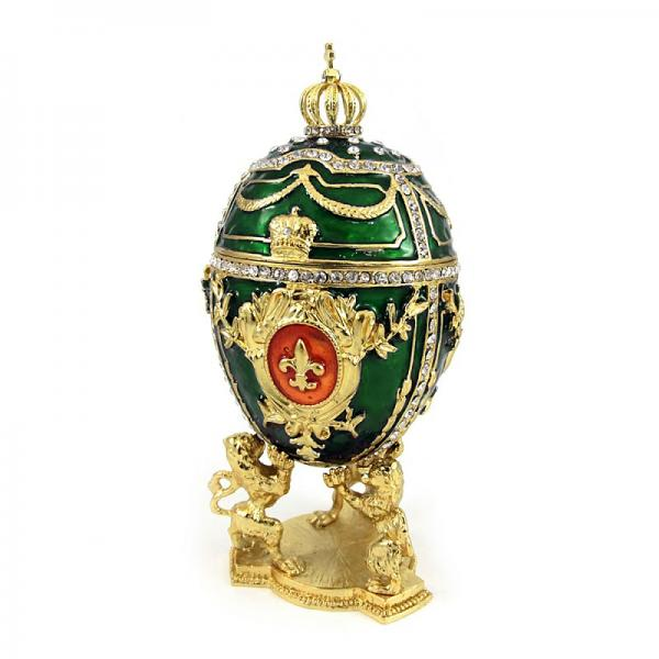 "Green Russian Style Egg Trinket Box with Lions, 3.5"" / 9 cm (HJD0871A-4)"
