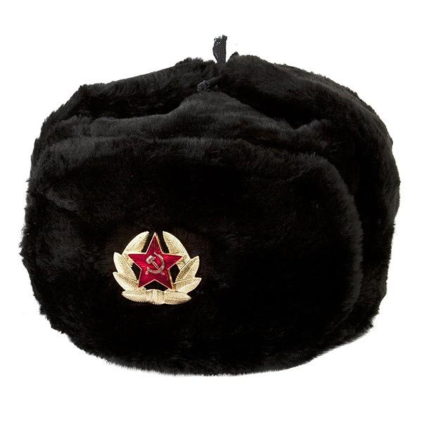 Ushanka, size 60/L. Russian Military Hat with Soviet Army Soldier Insignia, Black