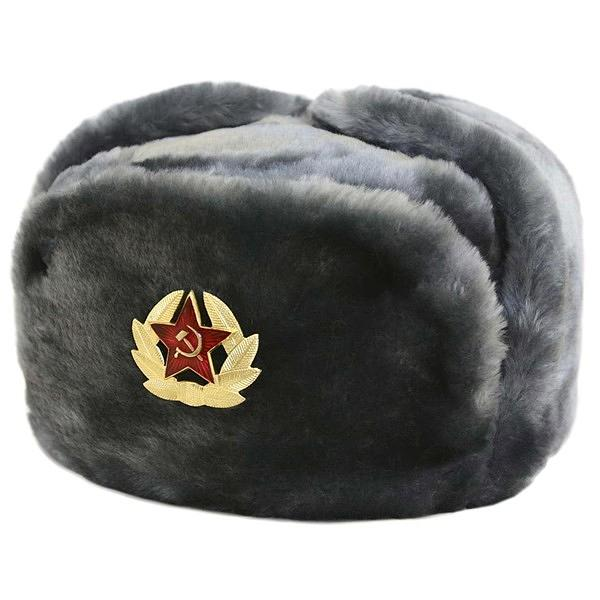 Ushanka, size 64/XXL. Russian Military Hat with Soviet Army Soldier Insignia, Gray