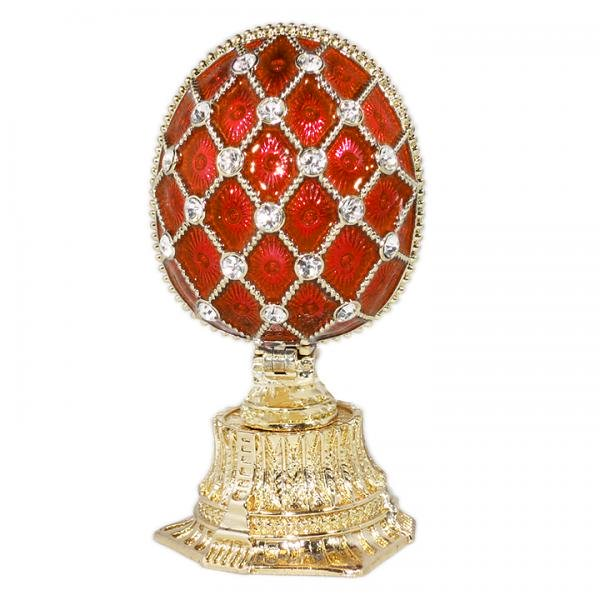 "Russian Style Mesh Egg with a Miniature of The Church of the Savior on Spilled Blood RED, 1.5"" / 4.5 cm (HE0897M-1+HE1870)"