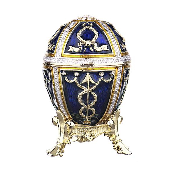 "Eater Gift Russian Style Easter Egg Trinket Box with Arrows BLUE, 2.5"" (HJD0899A-3)"
