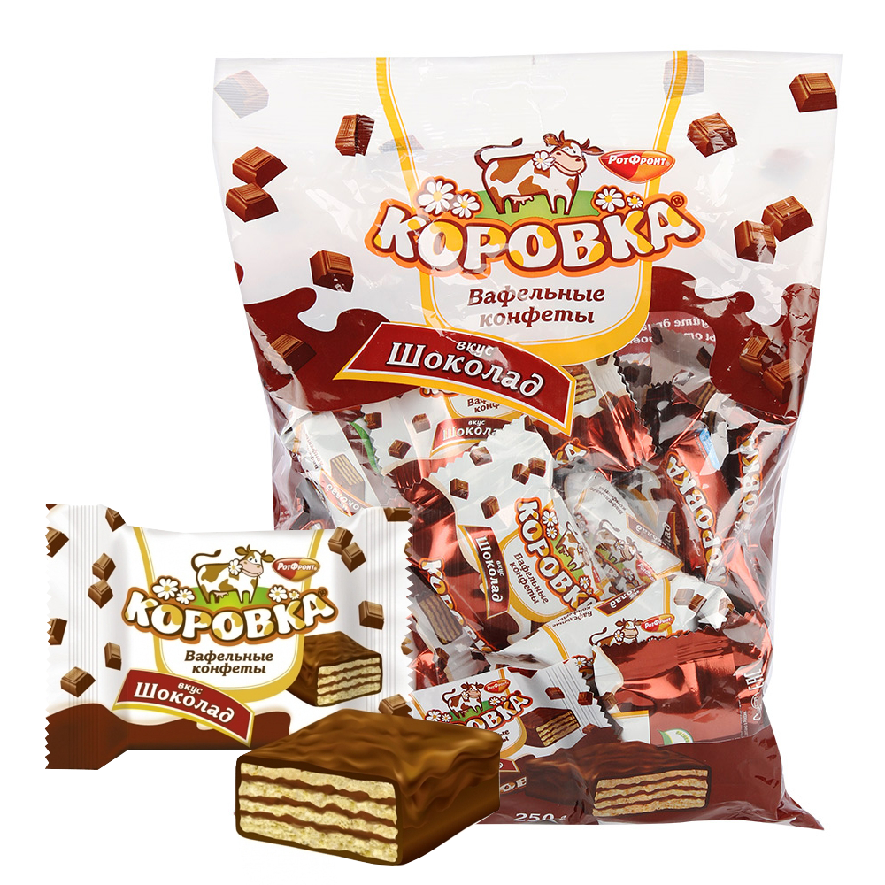 Wafer Cookies with Chocolate, Korovka 8.8 oz / 250 g