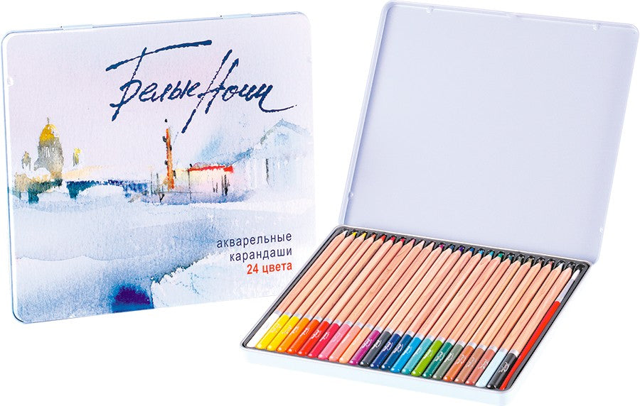 Set of watercolor pencils 24 colors, White Nights, tin pencil case, Nevskaya Palitra