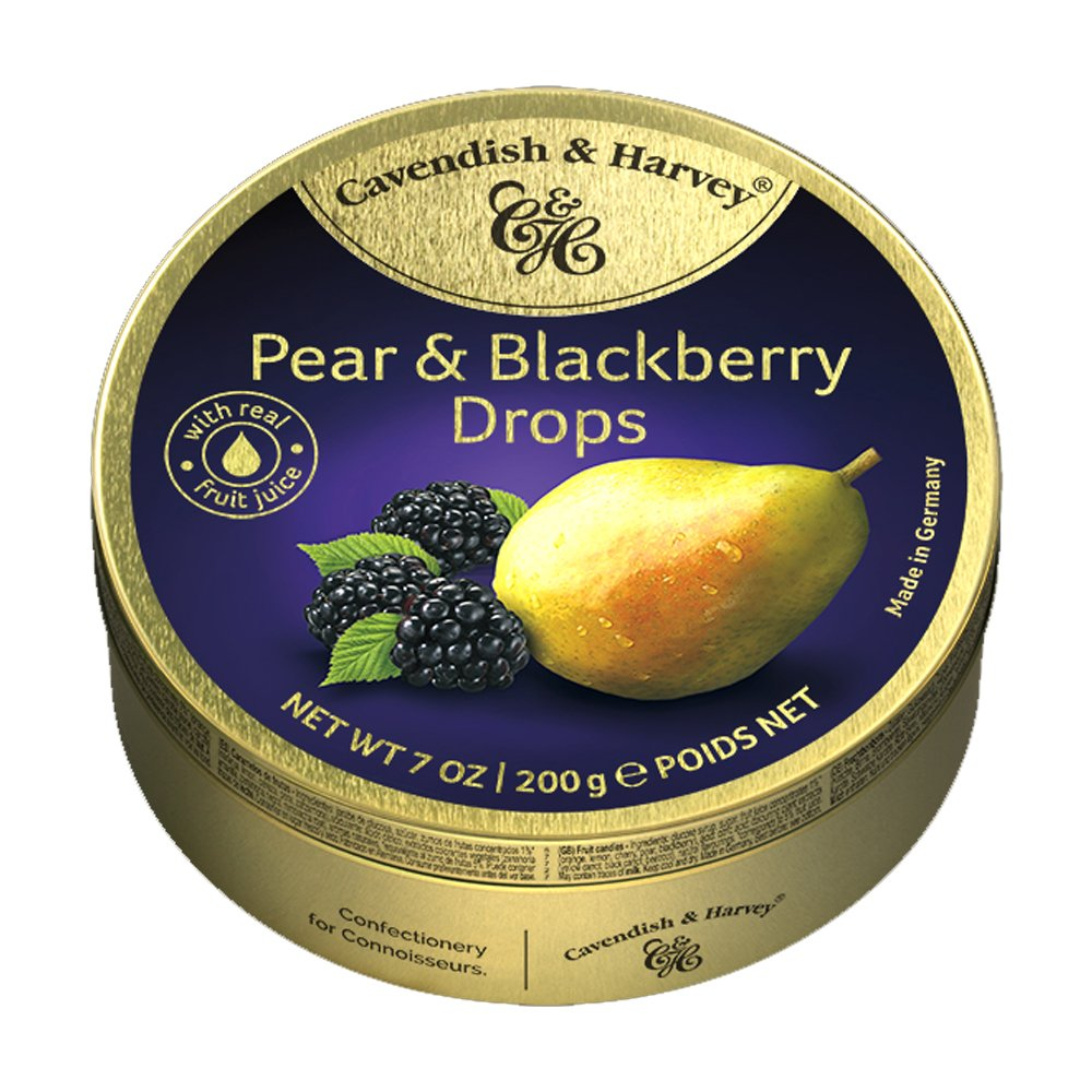 "Hard Candy Drops in Tin ""Pear and Blackberry"" 0.44 lb/200g"