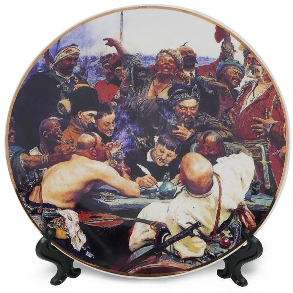 Plate Masterpieces of the Russian Museum Cossacks write a letter to the Turkish Sultan. 20 cm