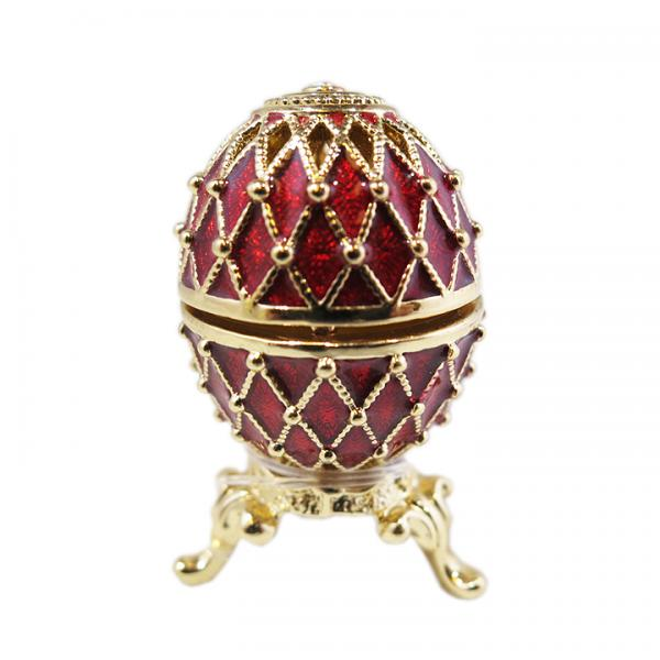 "Mini Russian Style Egg with Golden Mesh Pattern (red), 1.25"" (HEBS-0105-1)"
